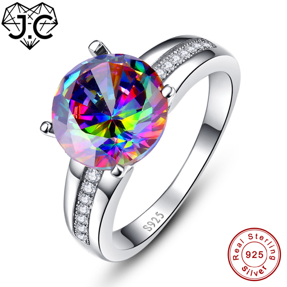 J.C Round Cut Fine Jewelry Rainbow Fire Mystic Topaz Ruby White Topaz 100% 925 Sterling Silver Ring Size 6 7 8 9 Christmas Gifts white fire opal women 925 sterling silver ring a27 size 6 7 8 9 10
