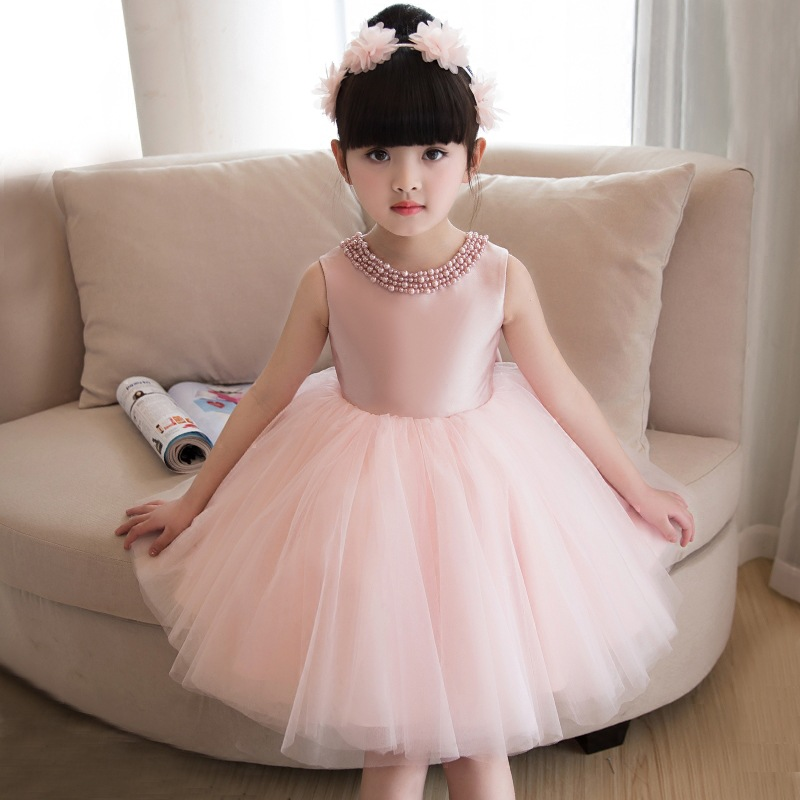 цены на Pink Bow Flower Girl Dresses Wedding Beading Ball Gown Holy Communion Dress Mesh Princess Dress Birthday Party Kids Dress AA65 в интернет-магазинах