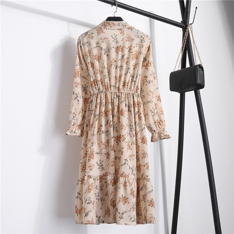 Summer Korean Chiffon Women Dress Elegant Ladies Vintage Long Dress Boho Floral Office Long Sleeve Vestidos Clothing 5LYQ003 39