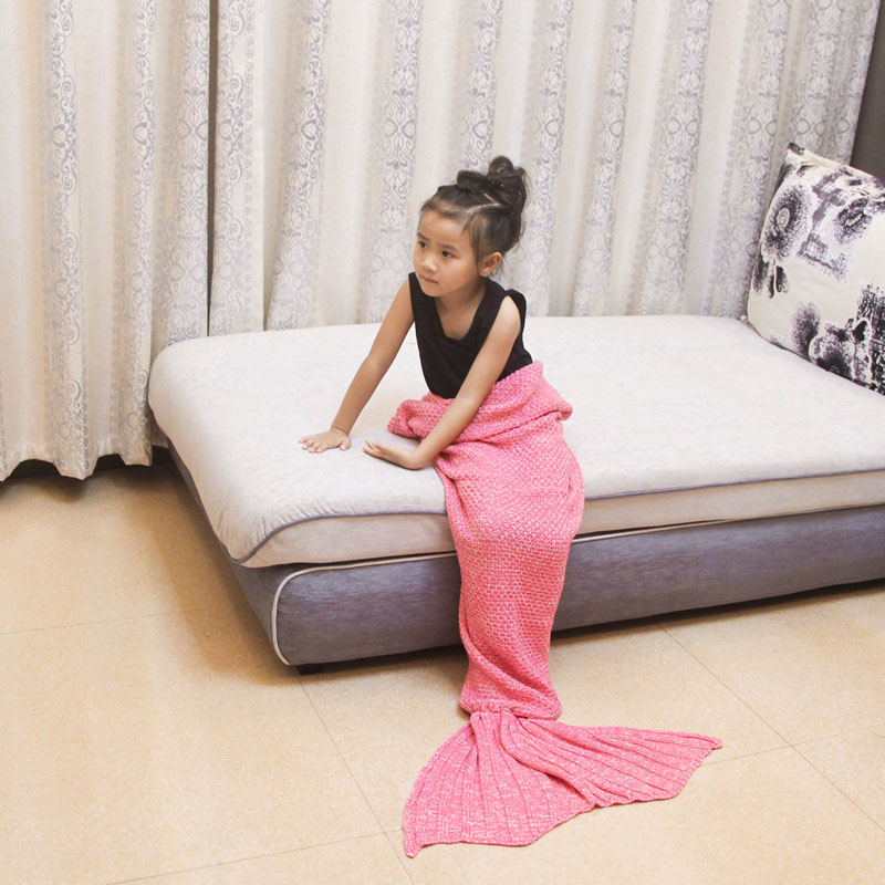 Kid Knitted Mermaid Tail Blanket Bedding Sofa Sleeping Bag Swaddling Mermaid Blanket Little Tail Throw Bed Wrap Blanket For Baby in Blankets from Home Garden