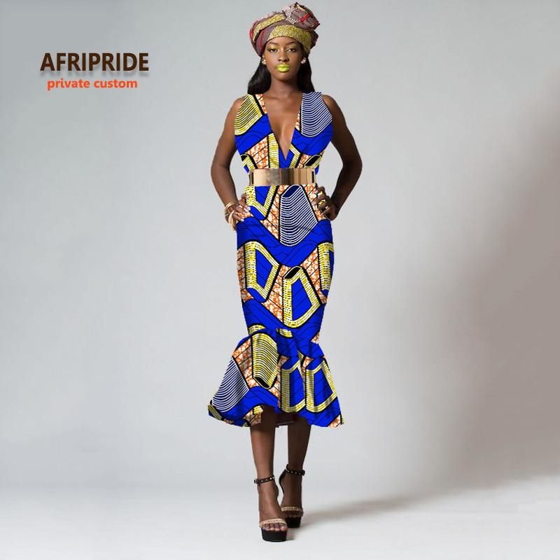 2018 mode stil afrikansk klänning för kvinnor sexig V-hals bazin riche femme african kläder mid-calf längd ärmlös A722521