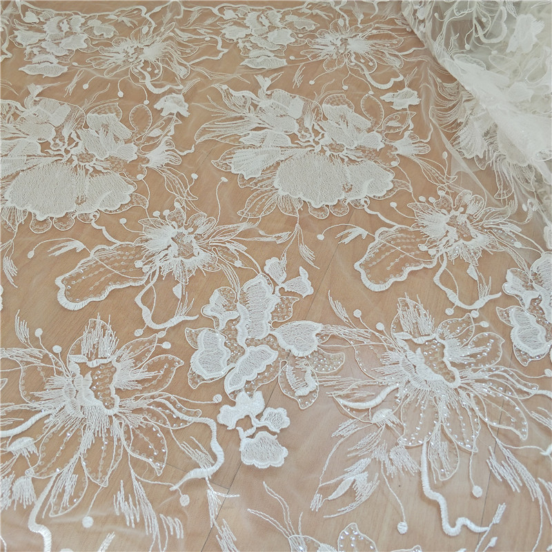 130cm 90cm French beaded tulle Lace Fabric for wedding dress Flower sequins raw white african lace embroidered applique 2019 in Lace from Home Garden