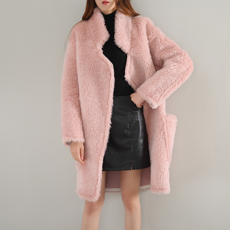 Новое поступление зимние Для женщин мода искусственного Шерстяное пальто средней длины толстый Обувь на теплом меху тонкий Офисные женски...
