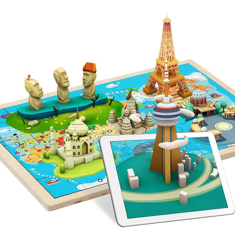 TOPBRIGHT AR carte du monde Puzzle bois 3D Puzzle enfants 2-6 ans bébé jouets jouets éducatifs