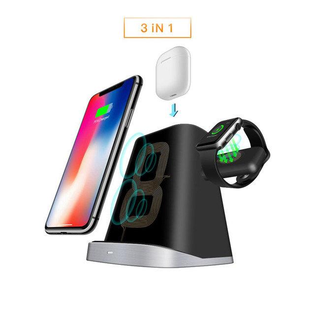 3in1 Qi Wireless Charger Dock for Airpods/Apple Watch Charging Station for iPhone XR/XS/XSMAX/X/8/Samsung S9/S9+/S8/S8+/S7