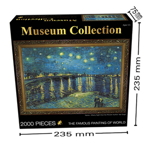 Image 4 - 14Type Adult 2000 Pieces World Oil Painting Puzzles Difficult Famous Starry Night Thicker Paper Puzzle Christmas Gift for Child