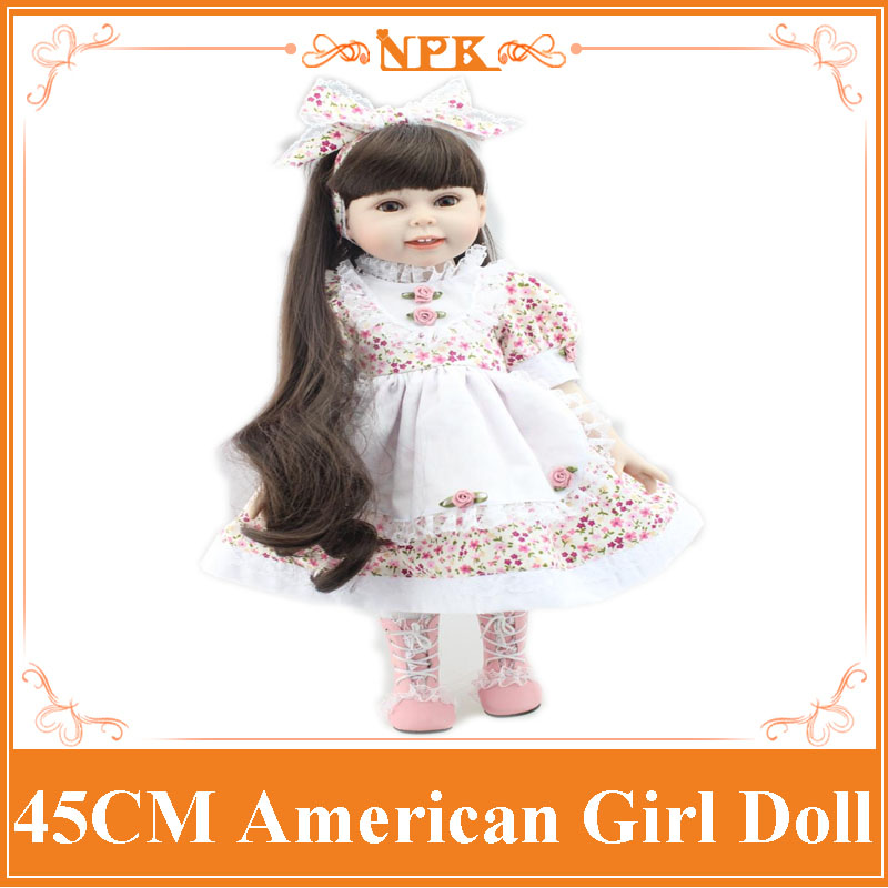 New Arrival 18inch Doll NPK American Sweet Girl With Curly Long  Hair In Floral Skirt Dress Bonecas Bebe Kids Gift Brinquedos new arrival 18inch doll npk american sweet girl with curly long hair in floral skirt dress bonecas bebe kids gift brinquedos