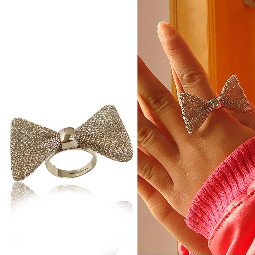 Fashion Sweet Girl Large Silver Bow Brief Ring R445