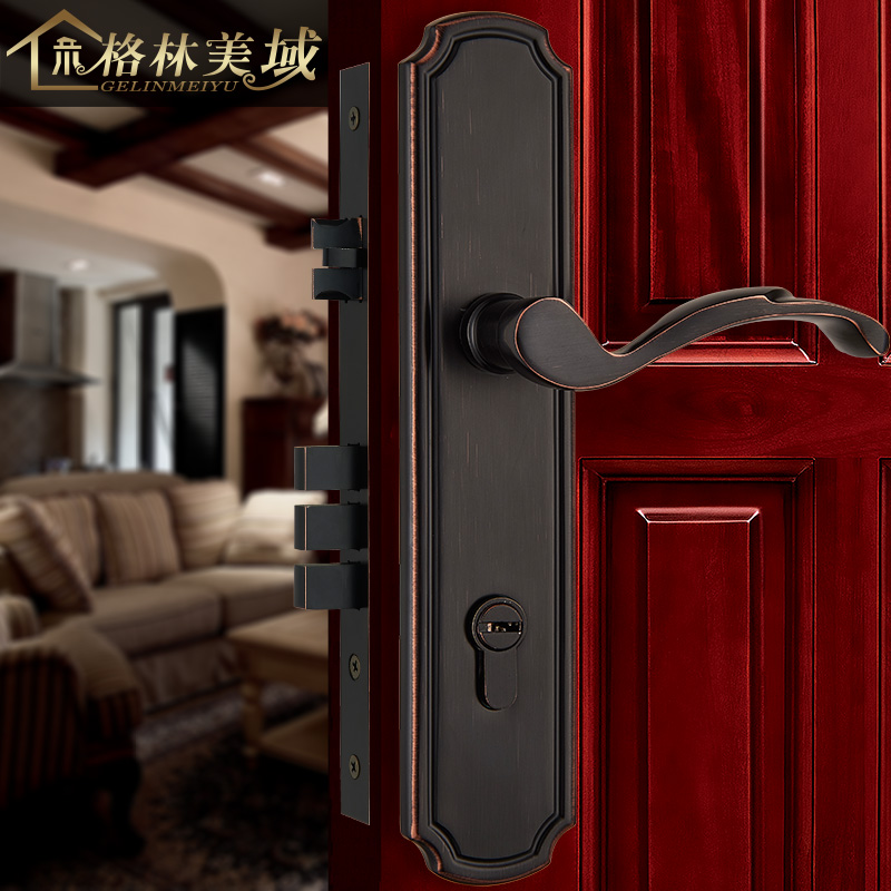 Full copper interior door locks American simple solid wood door locks door locks pure copper modern thai high end hardware home modern luxury golden locks tk205021 gold goldsmith door interior door locks