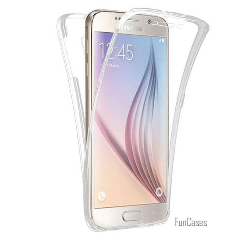 حافظة شفافة كاملة من البولي يوريثان الناعم 360 لهواتف سامسونج S3 S4 S5 S6 S7 S6 S8 PLUS نوت 3 4 5 شاشة أمامية تعمل باللمس وغطاء خلفي cas