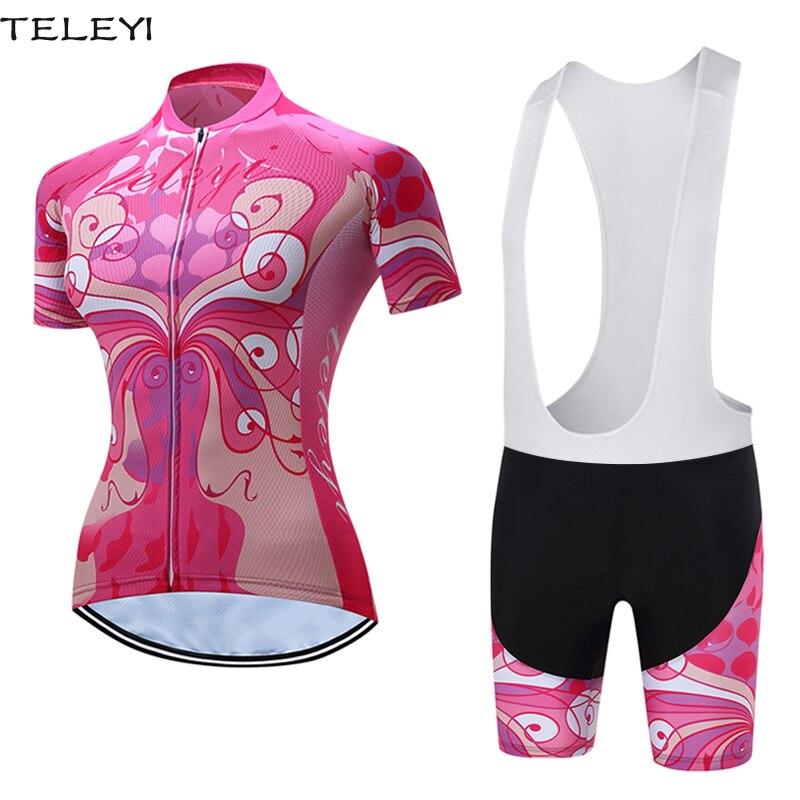 Цена за TELEYI женская Велоспорт Джерси С Коротким Рукавом Шорты Набор Дамы Дорожный Велосипед Одежда Велоспорт Розовый Комплект XS 4XL