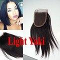 Yaki grosseiro mongol fechamento rendas 4 x 4 fechamento de 3 cabelo humano Weave agradável Swiss Lace todos nós descorados
