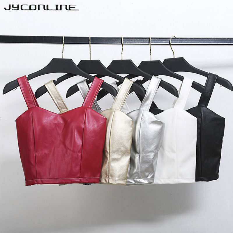 JYConline PU Leather Bralette Womens Bustier Crop Top Push Up Top Cropped Feminino Tight Camisole Bra Corsets Short Tank Tops