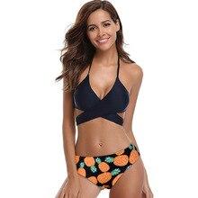 Hot Sale Women Swimsuit Push Up Cross Bikinis Set Female Print Swimwear 2019 Girl Beach Swimming Bathing Suit Sexy Bikini