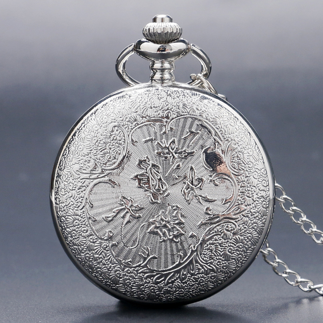 Antique Hollow Silver Tone Quartz Pocket Watch Necklace Pendant Women Men Gift P226