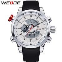 WEIDE Multifunctional Men Sports Watches Waterproof Hardlex Surface PU Wrist Band Analog Digital Dual Time Zones