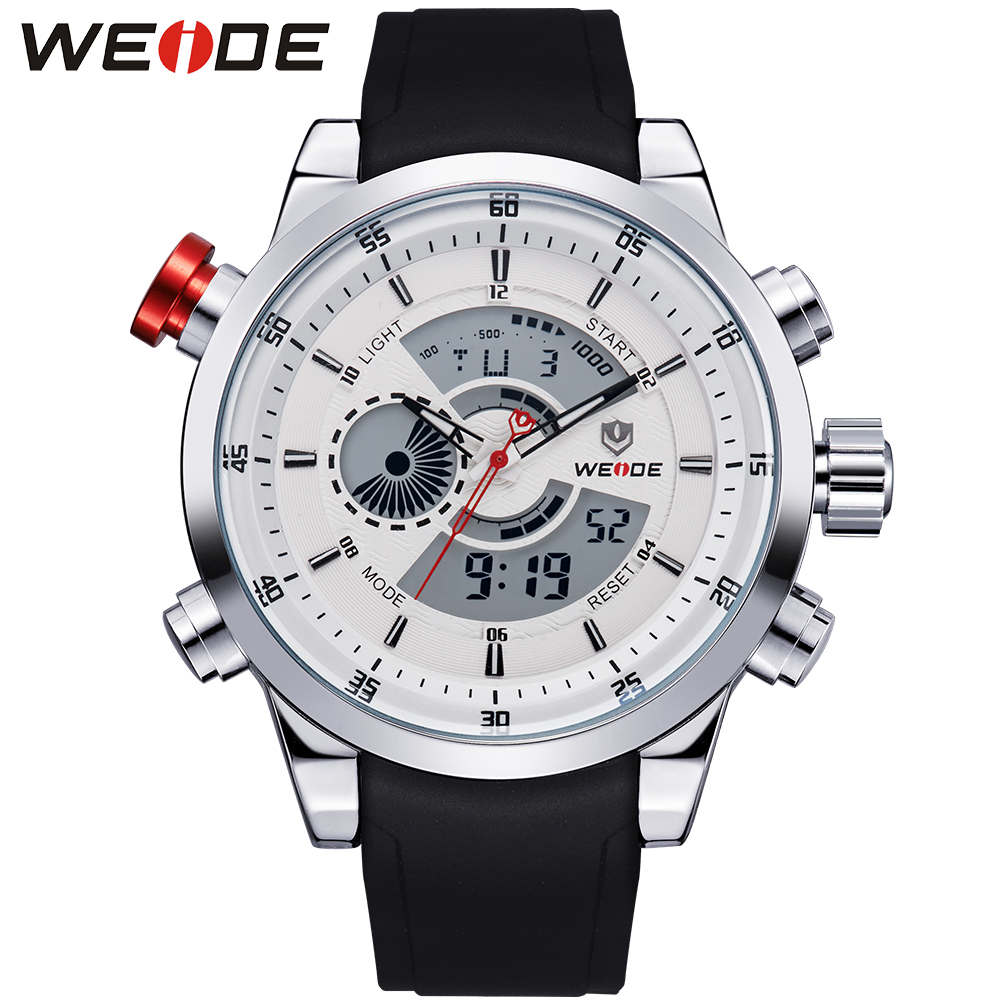 WEIDE Multifunctional Men Sports Watches Waterproof Hardlex Surface PU Wrist Band Analog Digital Dual Time Zones Display For Man weide men sports watches waterproof military quartz digital watch alarm stopwatch dual time zones wristwatch relogios masculinos