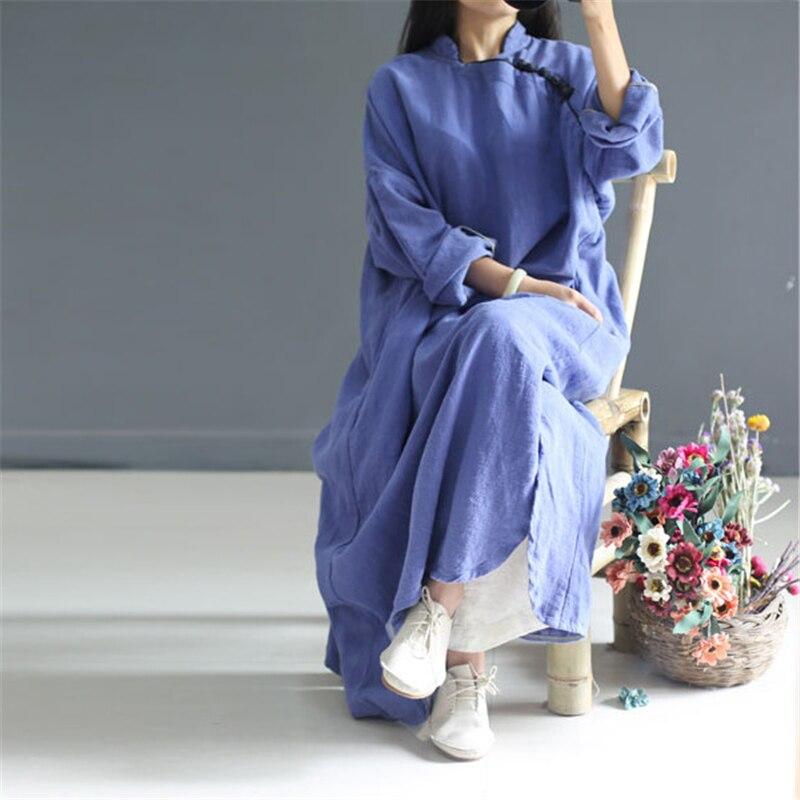 Johnature Women Maxi Dress Vintage Robes 2019 Autumn New Loose Cotton Linen Stand Button 2 Colour