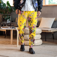 Loldeal Mens Mid Waist Floral Trousers Chinese Style Brand New Pants Men Fashion 2018 Loose Plus Size Harem Pant Cotton Casual
