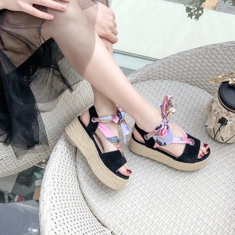 Hebilla Plataforma Encaje Mujeres Sandalias rosado Dulce Mujer Rosa De Las Peep Zapatos Toe Negro Cinta Tacones Negro Marca Cuñas Una 6xffSw0