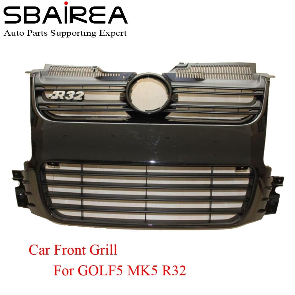 SBAIREA Voiture De Course grils ABS argent pare-chocs avant Maille Gril Pour Volkswagen Golf5 MK5 R32 Pare-chocs 2005-2009 classe de carro