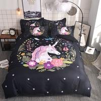 unicorn Cartoon 3D Bedding Set Duvet Cover Pillowcase Size Single Duoble Twin Full Queen King Comforter Bedding Sets Bed Linen