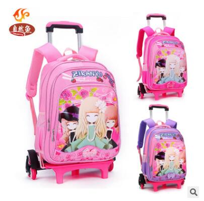 Kid School Rolling Backpack For Girl Children Luggage Bags Trolley