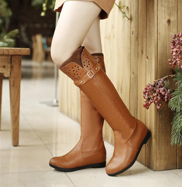 Nuevo estilo de la rodilla botas altas de las mujeres planas de otoño e invierno nieve botas de señoras largas botas de cuero botines de las mujeres zapatos de primavera 2017