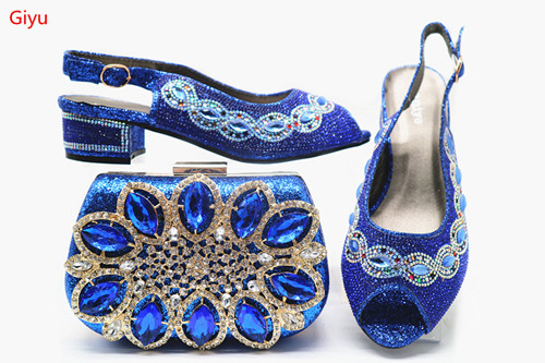 Doershow  Beautiful Italian Blue Shoes With Matching Bags African Women Shoes And Bags Set For Prom Party Summer Sandal!!HJH1-17