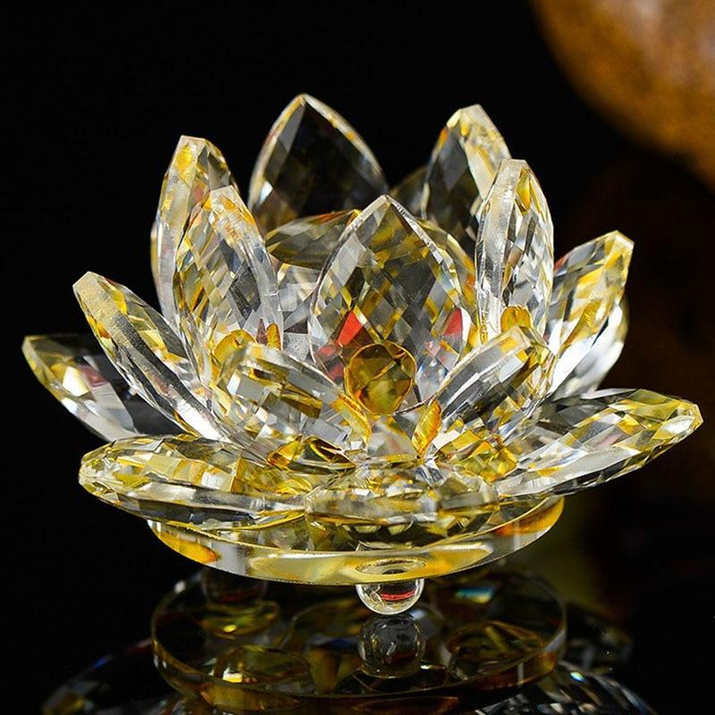 Quartz 80 mm Crystal Lotus Flower Crafts Glass Ornament 7