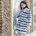 High quality Rex Rabbit Fur Wholeskin Natural Fur Outerwear Real Fur Overcoat
