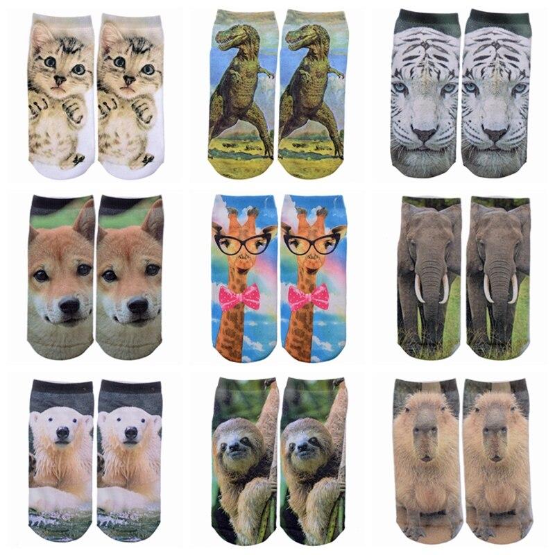 Hot Sale Funny 3D Prints Animal Socks Fashion For Women Giraffe&Cat&Elephant Cotton Art Socks Low Cut Ankle Short Socks Gift