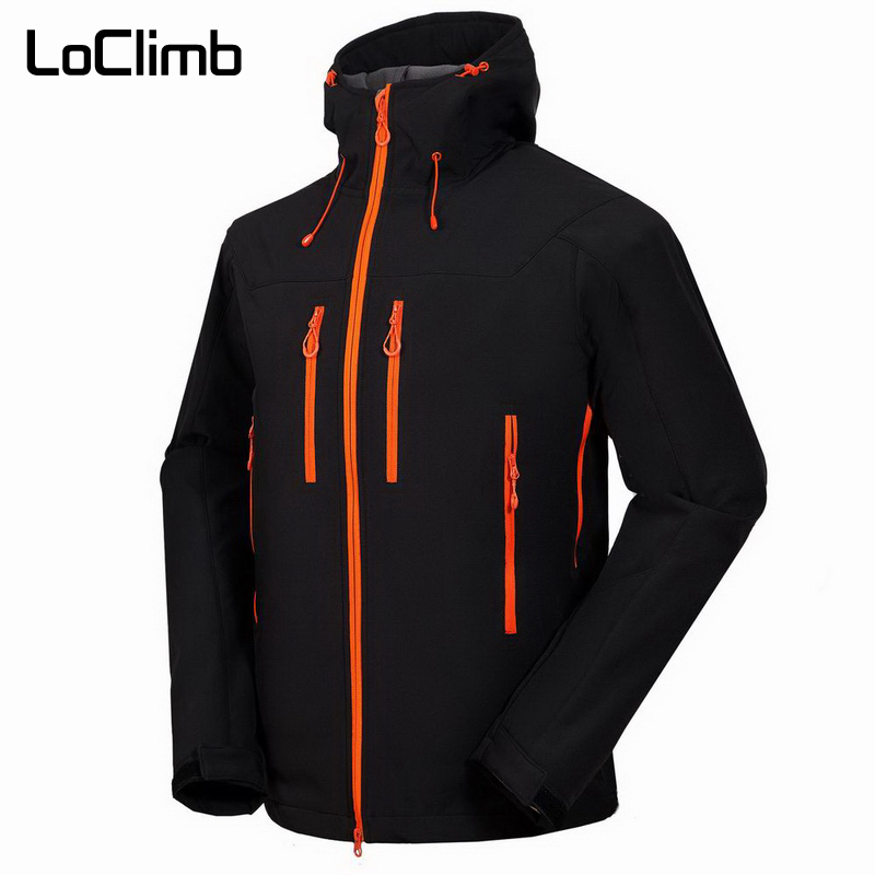 LoClimb Plus Size Men's Hiking Jacket Men Waterproof Outdoor Sport Softshell Coat For Spring Trekking Climbing Ski Hooded,AM101