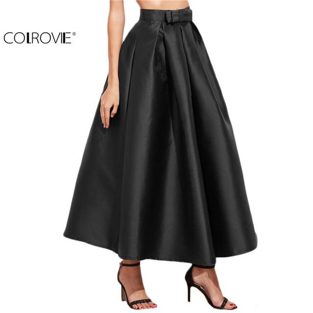 Colrovie vintage saias das mulheres formais nova chegada fashional mulheres escritório saias longas preto bow guarnição plissada saia longa