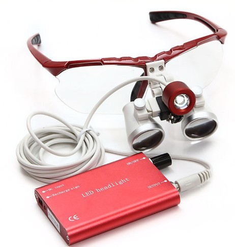 Dentist Dental Surgical Medical Binocular Loupes  Optical Glass Loupe + Portable Red LED Head Light Lamp 3.5X420mm купить