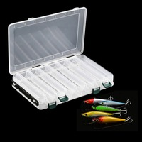 2016 New 14 Compartments Double Sided Fishing Lure Bait Hooks Tackle Waterproof Storage Box Case Free