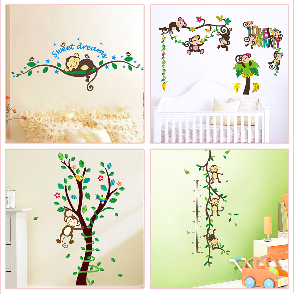 Cute Monkey Theme Wall Stickers For Kindergarten Kids Room Bedroom Home Decoration Diy Cartoon Pvc Decals Animals Mural Art