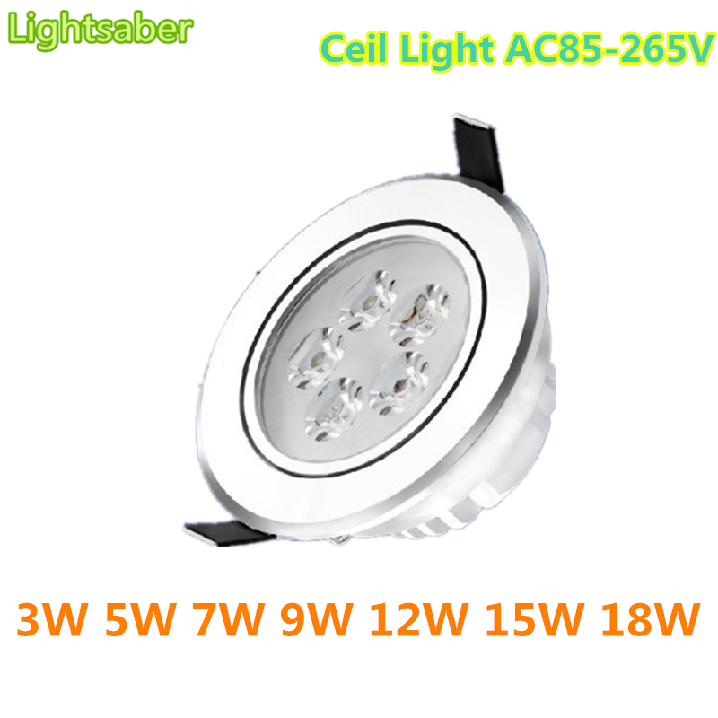 Lightsaber Led Ceiling Light 3W 5W 7W 9W 12W 15W 18W Led Ceiling Lamp AC85-265V Cold/warm White Led Down Light