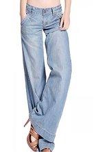 Abetteric горячая ретро мода женщины леди свободного покроя — ноги джинсы синие брюки