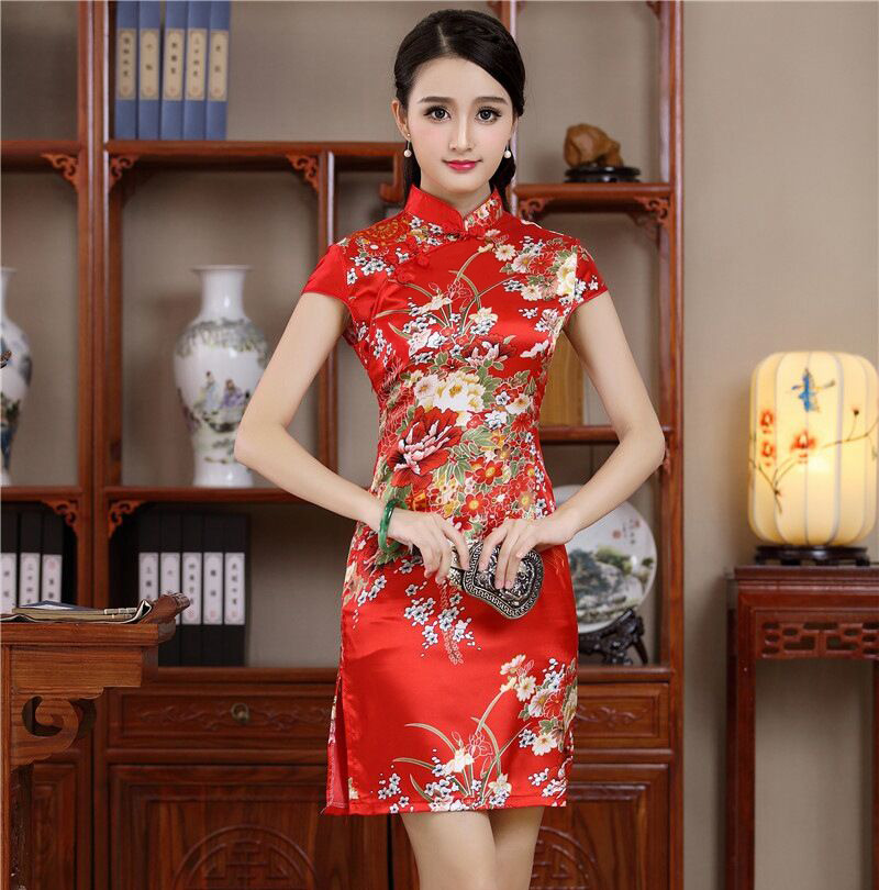 Summer Sexy Mini Cheongsam New Arrival Fesyen Red Chinese Womens Rayou Qipao Party Dress Mujer Vestido Flower Size S M L XL XXL