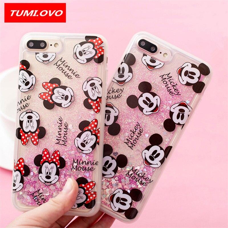 Galleria fotografica New Cartoon Mickey Minnie Quicksand Dynamic Liquid Glitter Phone Case for iPhone 6 6S 7 8 Plus 5 5S 5SE Cases for iPhone X Case