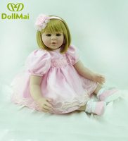 23 24inch 58 60cm Bebe Baby Reborn Doll Soft Silicone Girl Toy with blonde blue eyes very cute for Children Educational gift