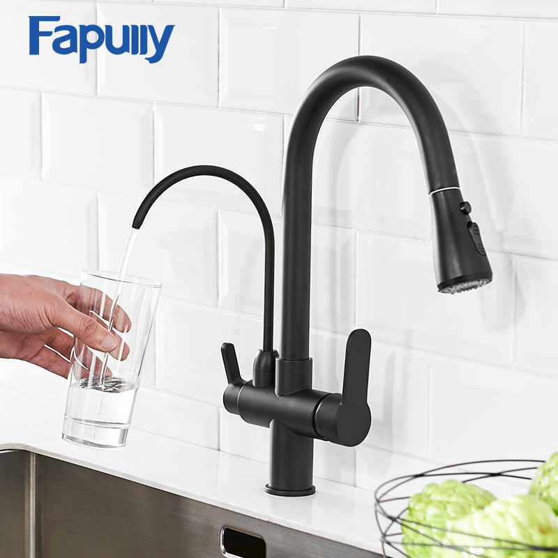 Fapully Kitchen Faucet Filter Water Sink Black Brass Pull Down Dual Sprayer Nozzle Torneira Swivel Water Outlet Mixer Tap 1030