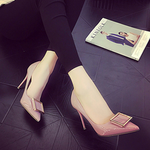 2016 spring shoes shoes pointed shallow mouth buckle leather surface high heels with a fine 10CM nude color red