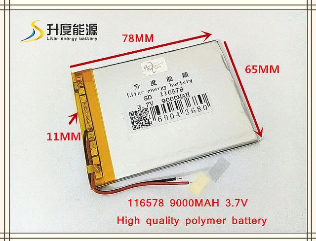 3.7 V 9000 mAH 116578 bateria De Polímero de iões de lítio/bateria para o BANCO PODER Li-ion; tablet pc, mp3, mp4, GPS, telefone celular, telefone celular speaker
