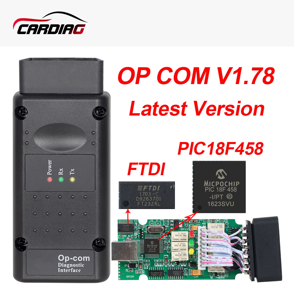 Opcom V1.78 V1.70 Optional with PIC18F458 Chip FTDI OBD II OBD2 Diagnostic tool for