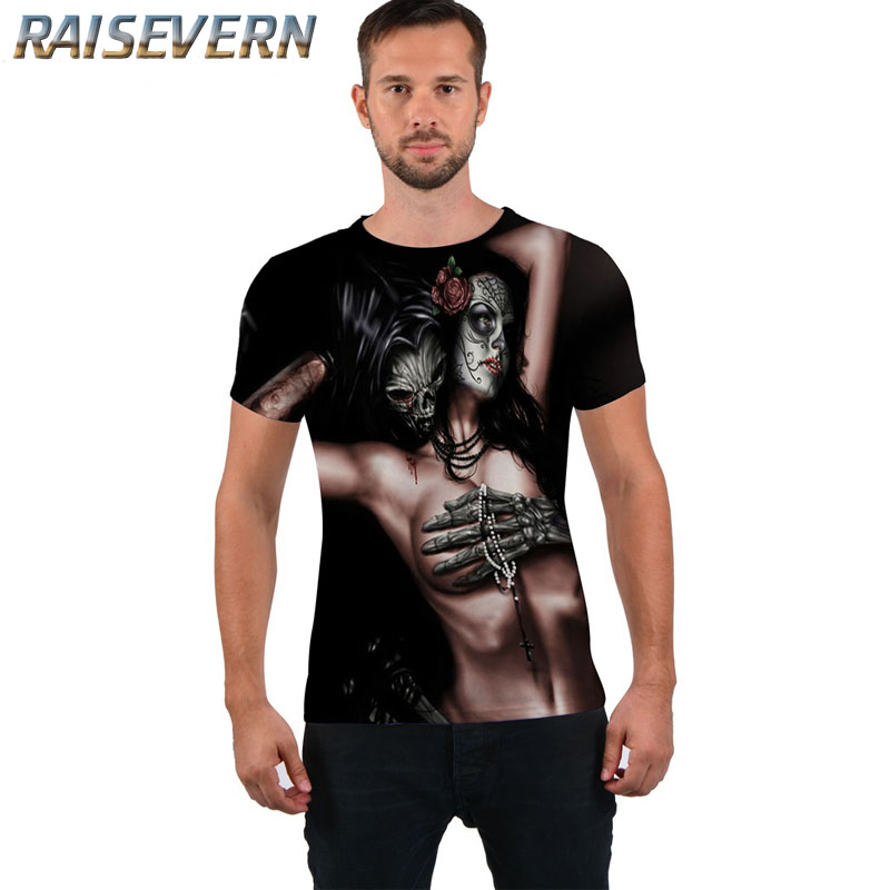 RAISEVERN European Size Fashion Men/Women T-shirt 3d Skull Print Character T-shirt Summer Tops Tees Brand Hip Hop T Shirt Tops