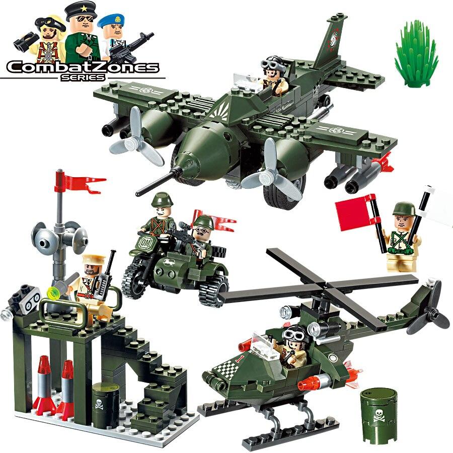 계몽 군대 344Pcs 교육 빌딩 블록 아이들을위한 완구 선물 육군 헬리콥터 모토