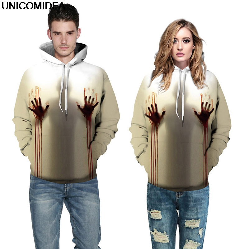 Provided Blood Baby Hoodies Sweatshirts Men Women Halloween 3d Print Tops Jacket Jumper Tracksuit Pullover Blood Handprint Streetwear Men's Clothing