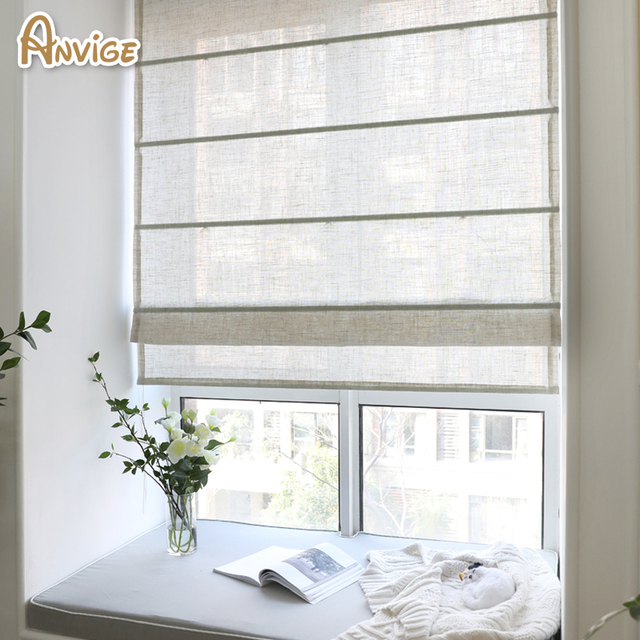 free shipping nature fabric half blackout curtains roman blinds